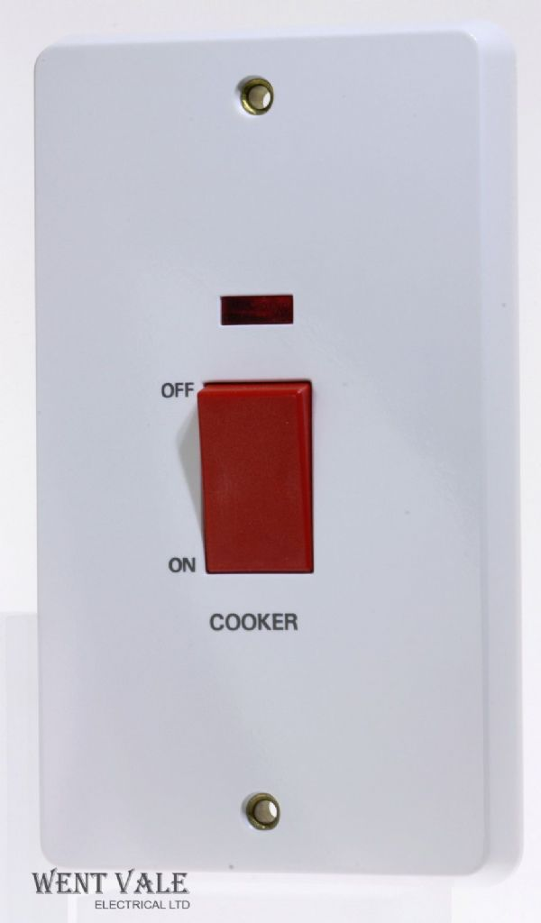 "Tenby Glacier 7777/CKR - 45a 2 Gang Double Pole Switch + Neon Marked ""Cooker"""